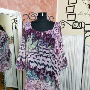 Bluză vaporoasă cu imprimeu multicolor